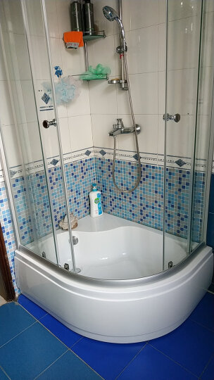 莱博顿扇形浴缸淋浴房NE2142Z 卫生间凉房 钢化玻璃屏风 亚克力泡澡底座 老人小孩淋浴洗澡坐盆 亮银边框右方向(送货安装) 800*1000房体带盆(送防爆膜) 晒单图