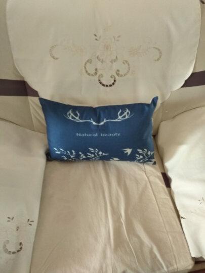 棉麻亚麻麋鹿头抱枕套靠垫套汽车腰靠沙发靠枕套含芯长方形正方形长形腰枕腰靠腰垫 蓝鹿/6 50*50cm/抱枕套+芯 晒单图