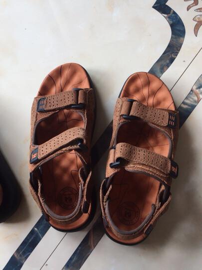 伶羊男凉鞋夏季真皮沙滩鞋男士夏天透气休闲凉拖鞋头层牛皮男士凉鞋 黄色 41 晒单图