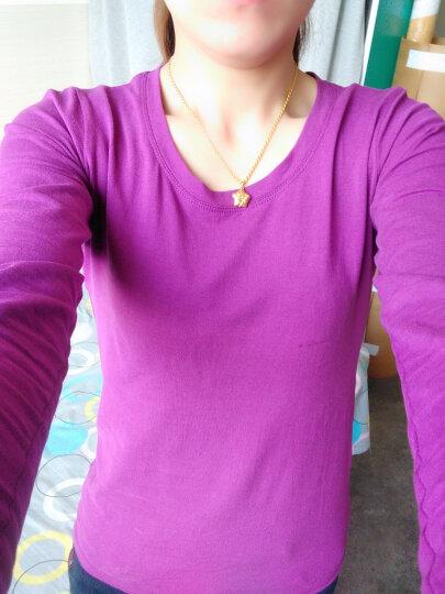 歌倍尚 长袖T恤女纯棉打底衫女装修身体恤上衣女 皮粉色 M 晒单图