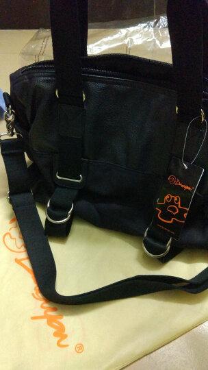 豆鼓眼(DouGuYan) 潮流单肩斜挎包帆布PU男士休闲韩版旅行大包G39907 黑色 横款大码 均码 晒单图