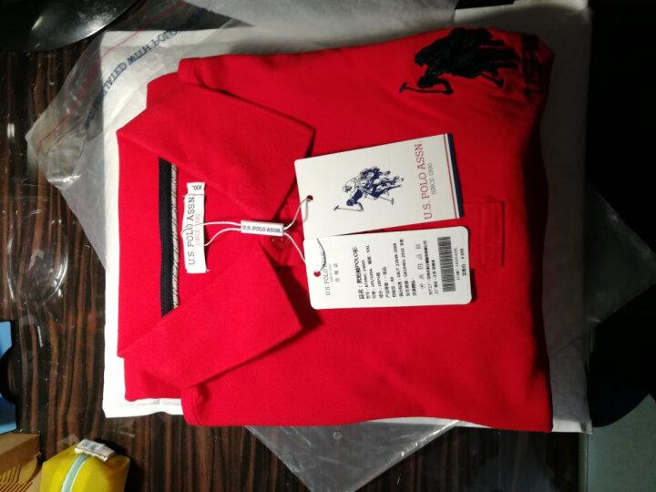 U.S. POLO ASSN.美国POLO短袖polo衫男士纯棉宽松T恤休闲男装24805 墨绿色 M 晒单图