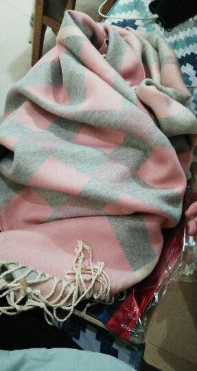 曲町(quding)新款围巾女士秋冬季韩版学生百搭时尚格子大披肩两用冬天保暖加厚超大长款围脖礼盒 方格-皮粉色 晒单图