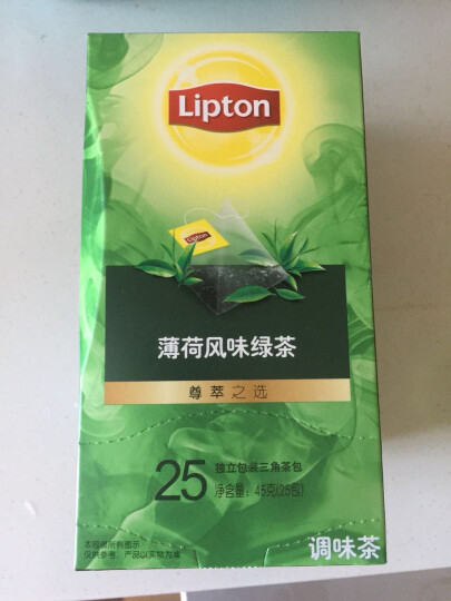 立顿Lipton 茶叶 薄荷风味绿茶调味茶25包45g 独立三角袋泡茶茶包 办公室下午茶 休闲旅行 晒单图