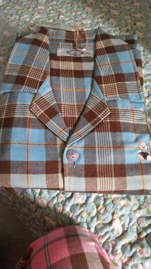 美标情侣睡衣女纯棉长袖秋冬梭织全棉质可外穿男士格子家居服套装 男款99145蓝色 男款L(170/88B) 晒单图