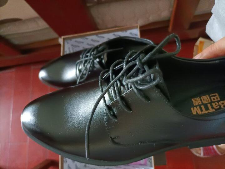 巴图腾皮鞋男士皮鞋真皮商务正装鞋内增高皮鞋男休闲青年英伦大码皮鞋男夏季镂空透气 镂空款-黑色 42 晒单图