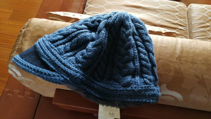 Siggi 帽子女秋冬天韩版潮羊毛呢蓓贝雷帽加厚鸭舌帽保暖针织毛线帽 蓝色 约57.5CM有弹性 晒单图
