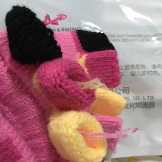 凯蒂猫(HELLO KITTY)儿童手套女童毛线针织保暖秋冬新款双层加厚卡通半指手套  KT-S9015C黑色 适合4-10岁 晒单图