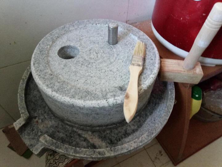 石磨磨盘小石磨家用磨浆机豆浆机豆腐机磨盘研磨器肠粉机 青石石磨上盘23*下盘33厘米 晒单图