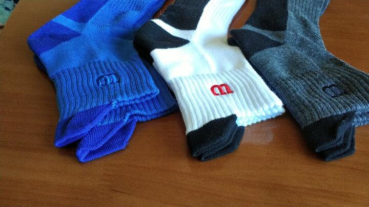 威尔胜(Wilson)三双装秋冬保暖透气吸汗中筒毛巾底舒适减震男精英篮球运动袜子 红黑/白黑/黑灰-3双装 晒单图