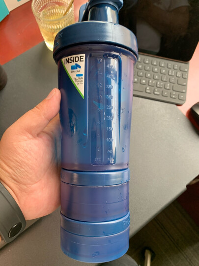 Blender Bottle 蛋白粉摇摇杯 运动健身水杯便携户外大容量水壶男女士塑料杯子 黑色 650ml 晒单图