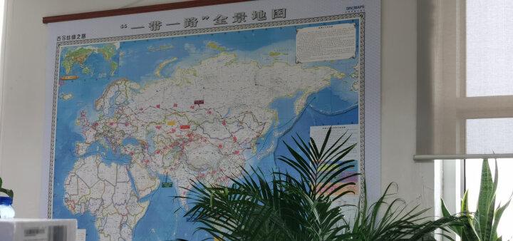 """古今丝绸之路·""""一带一路""""全景地图挂图(1.8米x1.3米 无拼缝 精美仿红木杆 办公室挂图) 晒单图"""