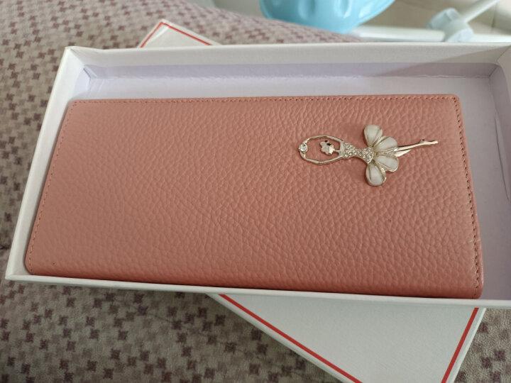 稻草人(MEXICAN)女士钱包甜美镶钻头层牛皮短款钱夹两折小钱包芭蕾舞女孩生日礼物 横款粉色 晒单图