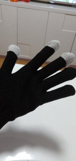 鸿钧 触屏手套加厚拉绒保暖触摸屏手套 女 冬保暖 时尚魔术针织手套 男 冬 黑色 晒单图