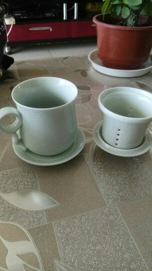 洁雅杰茶水分离杯陶瓷茶杯(300ml)蝉翼纹陶瓷泡茶杯4件套礼盒装中式带茶漏陶瓷杯 YTE-7601 晒单图