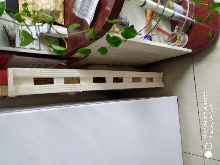 旺家星 移动夹缝收纳架 塑料厨房置物架落地客厅多层架带轮收纳柜车 象牙白四层 晒单图