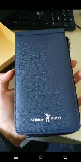 英皇保罗防盗刷卡包男士钱包长款多卡位皮夹头层牛皮拉链卡夹大容量钱夹 蓝色十字纹 晒单图