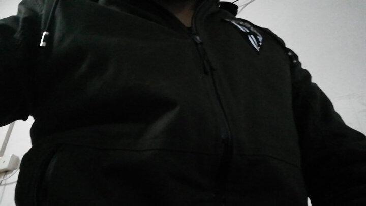 宾誉 夹克男士2017秋冬可脱卸帽简约棉衣男款休闲外套棉袄上衣 黑色(加绒款) XL 晒单图