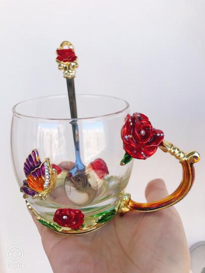 珐琅彩玻璃水杯泡茶杯子情侣实用时尚玫瑰花水晶对杯七夕情人节礼物生日礼物送女友情人老婆朋友圣诞节礼品 玫瑰款矮杯+珐琅勺+礼盒礼袋 晒单图