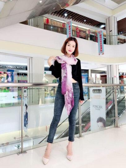 上海故事100%真丝丝巾女夏季防晒高档桑蚕丝沙滩丝巾披肩长款纱巾 马蹄莲 晒单图