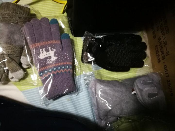 卡兰薇触摸屏手套韩版学生可爱全指骑车针织手套两种戴法 灰色 晒单图