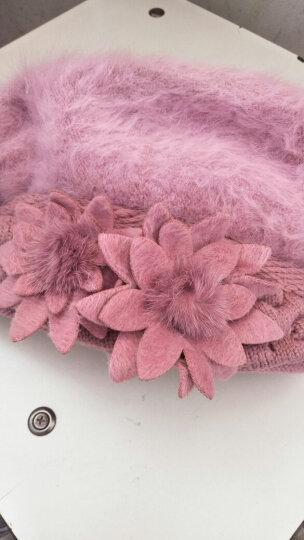 XINBUCKS毛线帽子女冬天护耳双花兔毛帽贝雷帽保暖加厚针织套头帽双层包头产妇月子帽 皮红色 晒单图