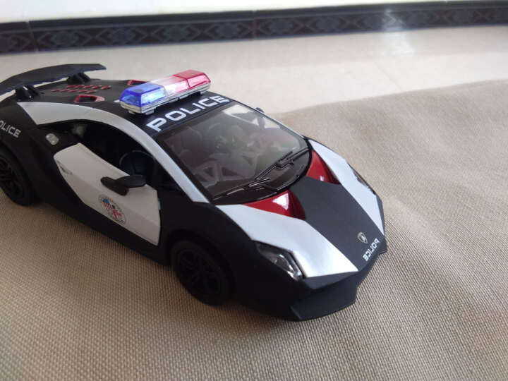 警车玩具合金汽车模型1/36仿真兰博基尼跑车模型儿童男孩玩具车开门回力 路虎卫士警车 晒单图