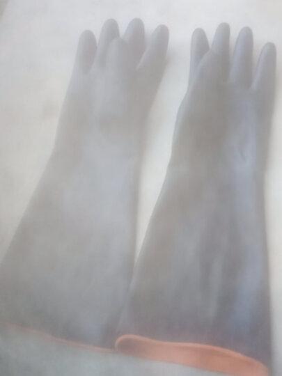 华特3601实验室工业耐酸碱橡胶手套防油防水长袖化工防护乳胶手套加厚胶皮捕鱼采摘工作劳保防护手套 3601加厚1双 55CM 晒单图