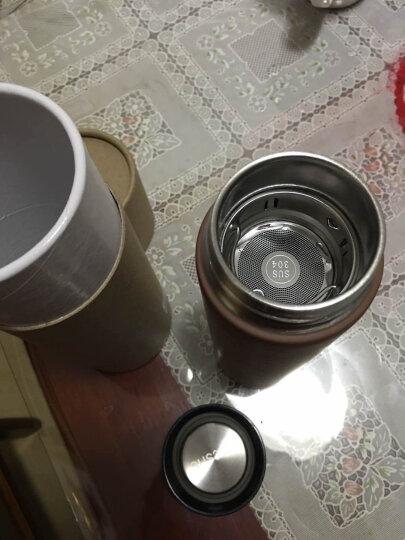 哈尔斯(HAERS)时尚直身保温杯 双层不锈钢水杯商务办公男女泡茶杯子 450ml 条纹咖啡色 晒单图