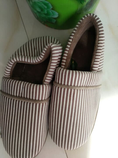 恋家包跟棉拖鞋冬季条纹情侣棉鞋保暖棉拖鞋西瓜红36/37LJ8011 晒单图