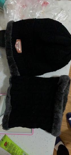 依岚傲雪冬季毛线帽子男士帽子女韩版潮毛线帽加厚针织帽围脖秋冬包头帽青年男帽子冬天男女通用 黑色(男女通用) 晒单图