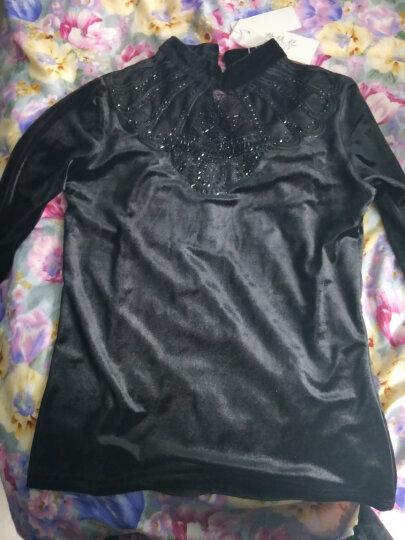 格缇妃 加绒打底衫女长袖秋冬新款韩版金丝绒蕾丝上衣服加厚保暖百搭小衫 6738黑色 XL 晒单图