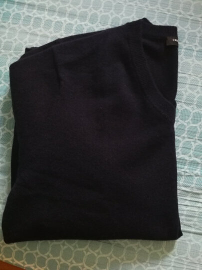 鳄鱼恤男士100%山羊绒针织V领打底毛衣男基础款纯羊绒衫 藏青 175/92A(110cm) 晒单图