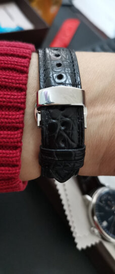 豪克鳄鱼皮表带 男女士通用手表带蝴蝶扣真皮表带适用于浪琴名匠天梭力洛克美度欧米茄天王万国手表皮带 黑色白线--土豪金扣 20mm 晒单图