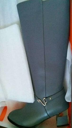 红蜻蜓女靴 时尚长筒靴舒适圆头简约金属扣方跟女棉靴 WNC63601/02 灰色 37 晒单图