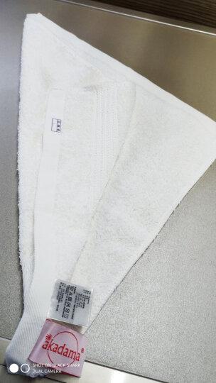 台湾进口akadama美国棉柔软纯棉吸水全棉加厚干发洗脸方巾面巾小毛巾 纯白 晒单图