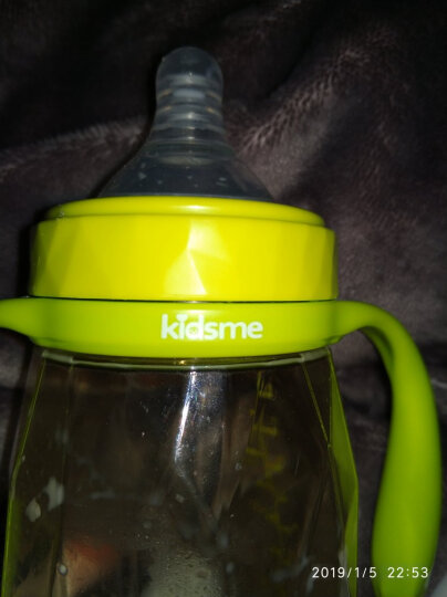 亲亲我(kidsme)婴儿宽口径PPSU钻石奶瓶宝宝奶瓶带吸管手柄 240ml绿色新生儿 晒单图