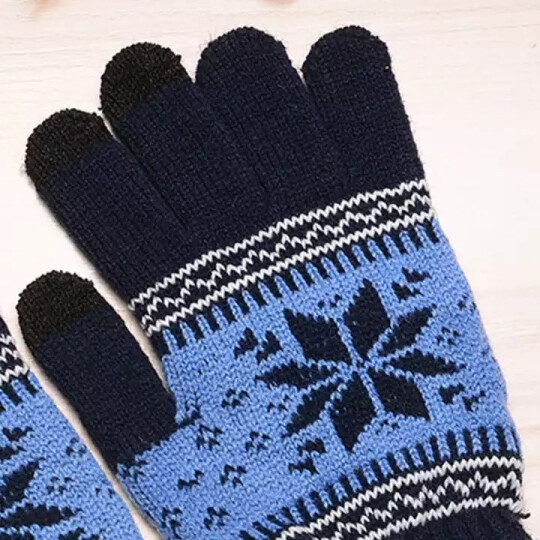 艾可娃(IKEWA)ST001 五指针织手套男女雪花图案秋冬天双层保暖毛线手套 蓝色 晒单图
