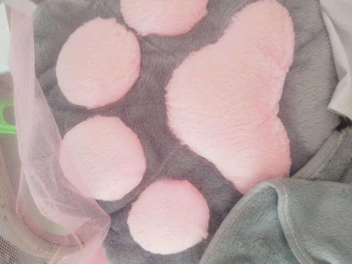 【生日礼物】创意可爱猫爪抱枕被子两用办公室午睡毯子空调被子靠垫腰靠 (猫肉球)灰色 抱枕38X32cm毯子1米*1米7 晒单图