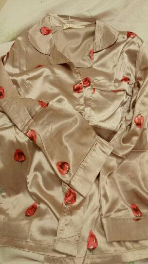 淘依妮 春秋季冰丝睡衣女秋天韩版长袖仿丝绸睡衣七件套吊带家居服 (七件套粉白色条纹) L 晒单图