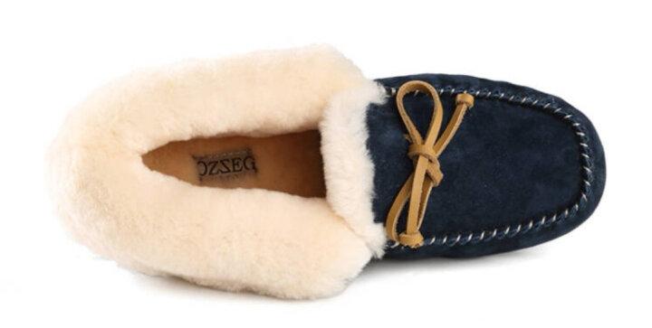 澳洲OZZEG 豆豆鞋女冬季加绒棉鞋保暖羊皮毛一体平底防滑孕妇鞋 黑色 38 晒单图