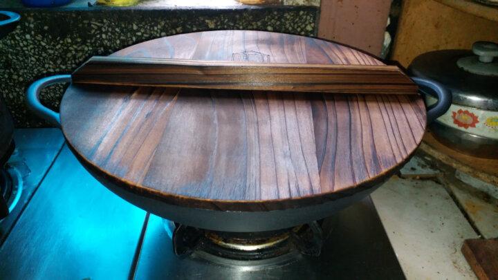 铸味36cm炒锅双耳平底铁锅炒菜锅具炉灶通用玻璃盖款 晒单图