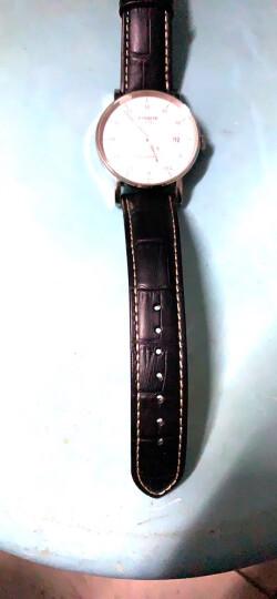 iStrap 天梭表带真皮通用手表带男女牛皮表链原装力洛克1853飞亚达浪琴美度天王精工阿玛尼卡西欧 棕色白线-金色双按蝴蝶扣 20mm 晒单图