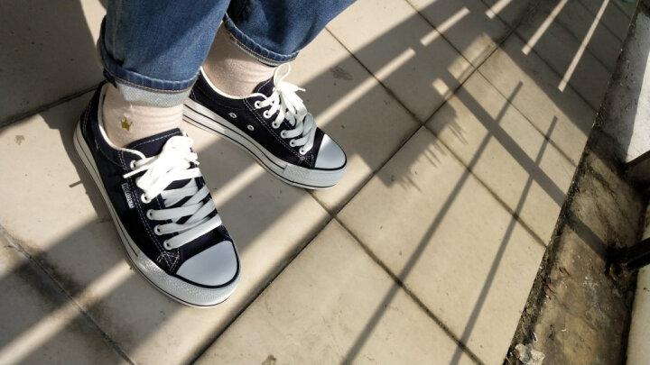 人本帆布鞋女厚底布鞋松糕跟小白鞋牛仔休闲鞋女百搭学生1992鞋子 中兰 37 晒单图