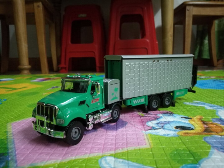 凯迪威 双层房车儿童玩具小汽车合金车模旅行房车变形拖车仿真模型男孩 双层房车-绿色 晒单图