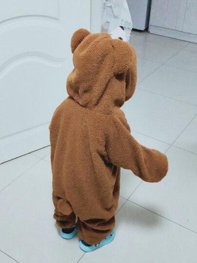 蔻梅日本微博婴幼儿可爱睡衣爬服儿童毛毛小熊宝宝连体哈衣外出家居服szx 米色加绒 100码 90身高1岁半 晒单图