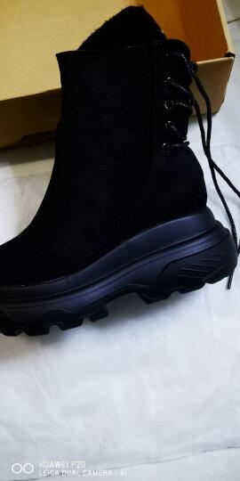 珂曼朵2018冬季新款女靴短靴时尚羊皮加绒马丁靴平底厚底棉靴中跟中筒雪地靴保暖女鞋 81003棕色加绒 37 晒单图