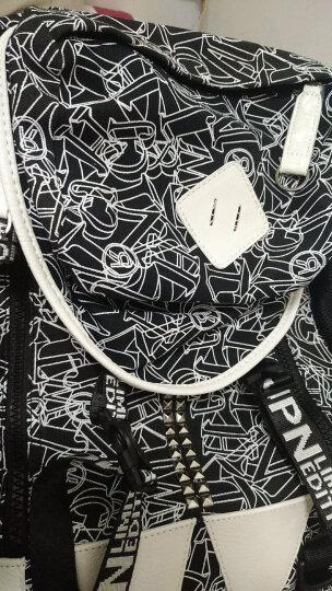 帆特西 韩版初高中学生书包男大学生潮流学院风印花帆布双肩背包 15.6英寸电脑包旅行包 V9022 白印花黑色 晒单图