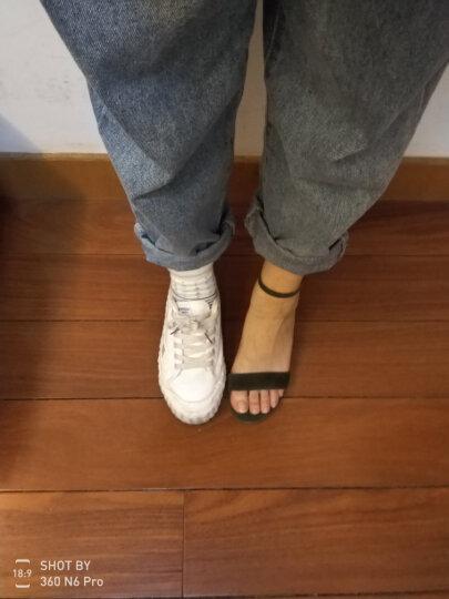 思加图夏季一字带纯色羊皮女粗跟高跟时尚优雅仙女凉鞋9E803BL7 墨绿色 34 晒单图