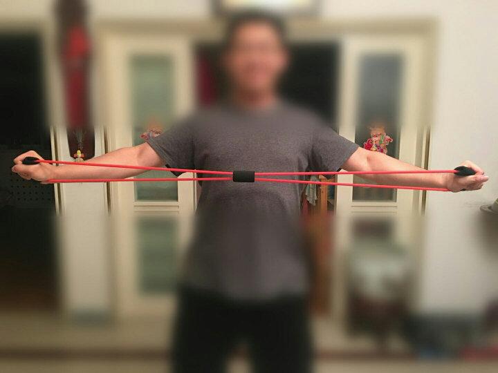 sengka8字拉力器拉力绳扩胸器臂力器健身器材瑜伽拉力带 男士加强红色 晒单图